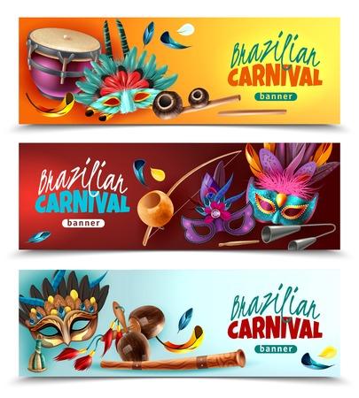 Brazylijski karnawał karnawał 3 poziome realistyczne kolorowe banery z tradycyjnymi instrumentami muzycznymi maskuje pióra na białym tle ilustracji wektorowych