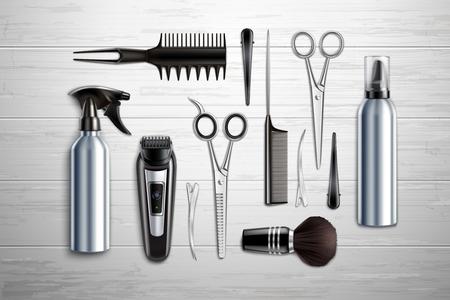 Friseursalon Friseursalon Werkzeuge Sammlung realistische Draufsicht mit Schere Trimmer Clipper monochrome Holzhintergrund-Vektorillustration