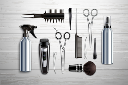 Hairdressing salon barber shop tools collection realistic top view with scissors trimmer clipper monochrome wooden background vector illustration