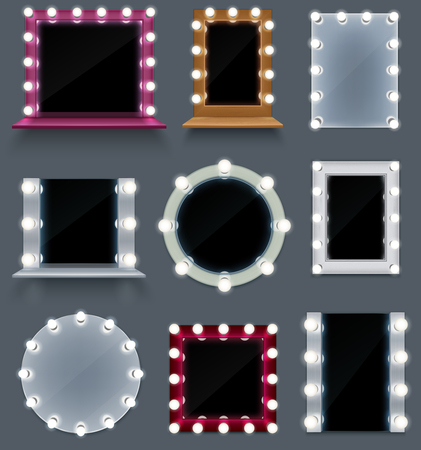 Realistic set of colorful make up mirrors of different shape with light bulbs isolated on grey background vector illustration Illustration