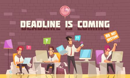La date limite arrive à plat illustration vectorielle avec des hommes d'affaires occupés à un travail urgent et à un remue-méninges