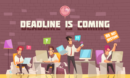 Deadline is coming flat vector illustration with business people busy with urgent work and brainstorming Illustration