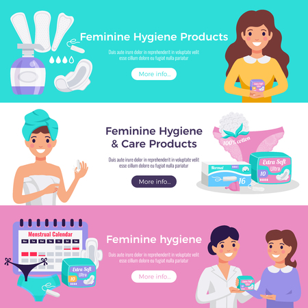 Feminine hygiene and care products 3 flat horizontal website banners with tampons pads medical advice vector illustration Vettoriali