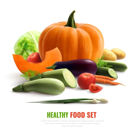 Healthy food set colorful composition with eggplant zucchini potato carrot cabbage pumpkin cucumber onion realistic vector illustration