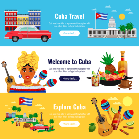 Cuba travel horizontal banners set with  landmarks symbols flat isolated vector illustration Illustration