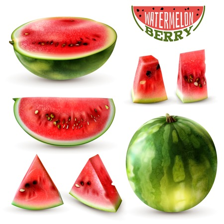 Realistic watermelon images set with whole berry half wedges slices and bite size pieces isolated vector illustration Illustration