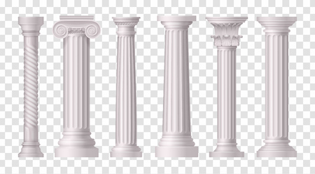 Six isolated and realistic antique white columns icon set on transparent background vector illustration Foto de archivo - 128160502