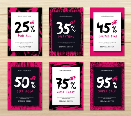 Flat design set of six vertical black friday discounts banners isolated on wooden background vector illustration