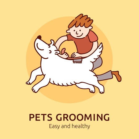 Pet grooming easy and healthy poster for cats and dogs owners flat vector illustration