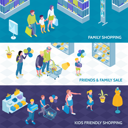 Horizontal isometric banners of family shopping with kids and friends on blue white background isolated vector illustration Illustration