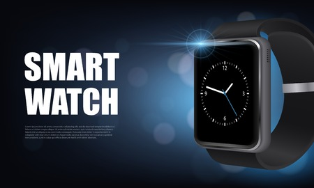 Dark style realistic smart watch horizontal banner with for advertising on site vector illustration Illustration