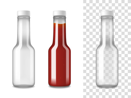 Closed glass bottles for ketchup on white and transparent separated backgrounds realistic set vector illustration
