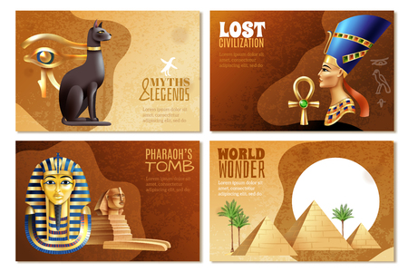 Egypt banners set of pharaohs tomb world wonder lost civilization myths and legends cartoon compositions vector illustration