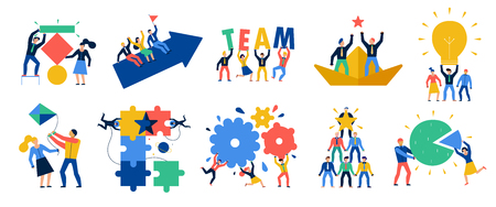 Teamwork icons set with ideas and brainstorming symbols flat isolated vector illustration