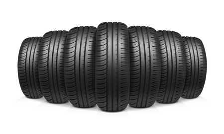Car tires with similar tread assembled in row realistic design concept vector illustration  イラスト・ベクター素材
