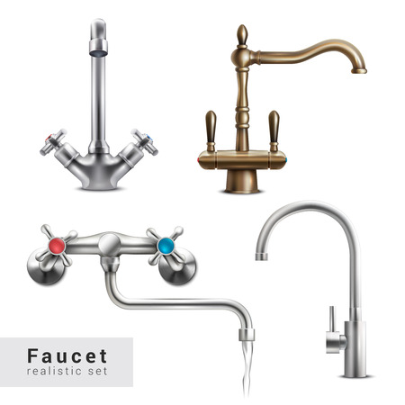 Faucet realistic set of four isolated images of various water mixers on blank background with text vector illustration Illustration