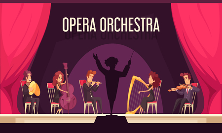 Theater orchestra onstage performance with violinist harpist fluitist musicians conductor red curtain flat composition vector illustration Stock Illustratie