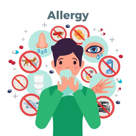 Allergy concept with risk factors and symptoms symbols flat vector illustration
