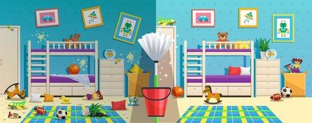 Habitación de niños desordenada con muebles y objetos interiores antes y después de limpiar la ilustración vectorial plana