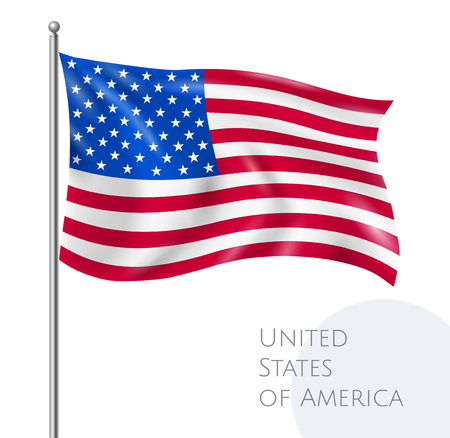 USA national flying flag with stars and stripes realistic vector illustration