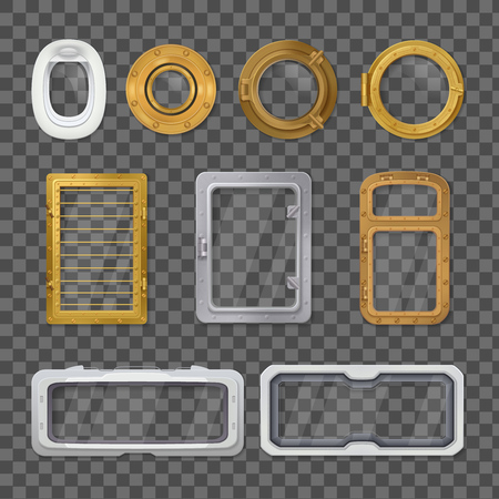 Isolated porthole realistic transparent icon set on transporent background with different styles and sizes vector illustration