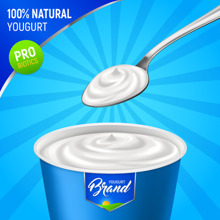 Realistic yogurt advertising background with branded plastic cup of natural yoghurt with spoon and editable text vector illustration