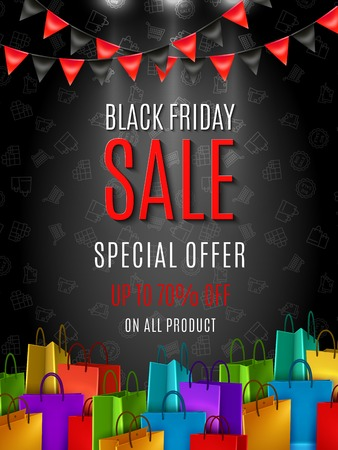 Black friday sale special offer poster with colorful shopping bags on dark background flat vector illustration