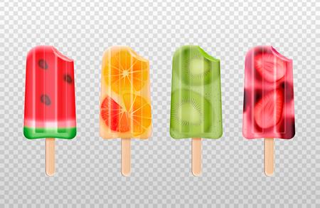 Gelato alla frutta morsicata insieme realistico delle immagini isolate del bastoncino di gelato alla frutta su fondo trasparente illustrazione vettoriale Vettoriali