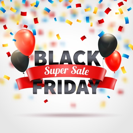 Black friday super sale background with colorful balloons and confetti realistic vector illustration