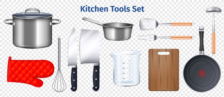 Kitchen utensils transparent set with chopping board frying pan and knife realistic isolated vector illustration