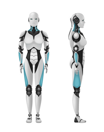 Robot android female realistic 3d composition of humanoid robot with feminine body on blank background vector illustration Ilustração