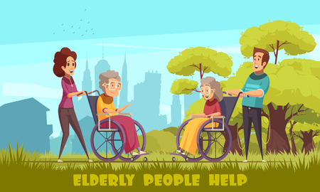 Volontari della scuola materna degli assistenti sociali che prendono anziani disabili in sedia a rotelle all'aperto poster piatto del fumetto illustrazione vettoriale Vettoriali