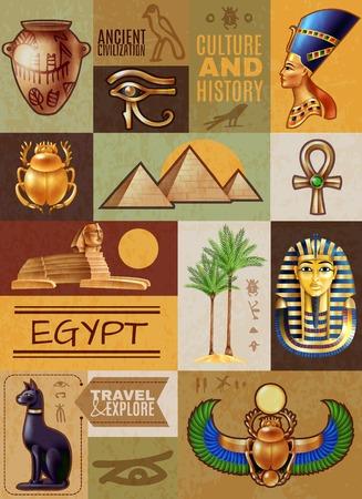 Cartel de guía de Egipto compuesto por símbolos antiguos, monumentos históricos y personajes famosos, ilustración vectorial de dibujos animados Ilustración de vector