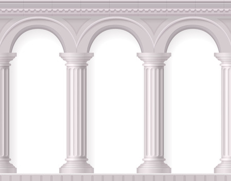 Greek 3d and realistic antique white columns composition with white ancient arches vector illustration