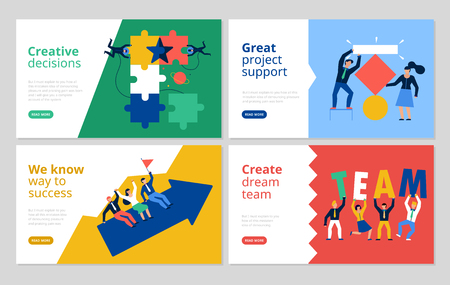 Teamwork horizontal banners set with project support symbols flat isolated vector illustration