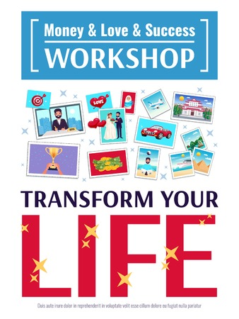 Dreams workshop poster with love and money symbols flat  vector illustration