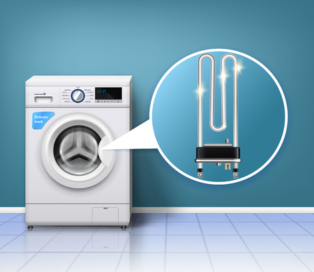 Washing machine scale protection composition with realistic laundry washer and serpentine tube heater with indoor environment vector illustration