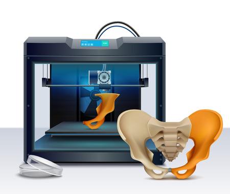 3D-Druck von menschlichen Knochen realistische Zusammensetzungsvektorillustration