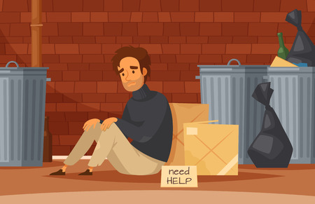 Homeless people cartoon composition with sad poor homeless man sits on the ground with nameplate need help vector illustration
