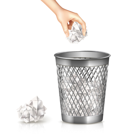 Rubbish bin with hand and used paper sheet realistic vector illustration