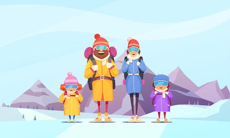 Alpinizm rodzinny zimowy urlop kreskówka plakat z ojcem matką 2 dzieci na tle alpejskich gór tło wektor ilustracja