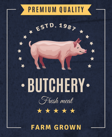 Butchery fresh meat vintage advertising  poster with pig and design elements on black background vector illustration
