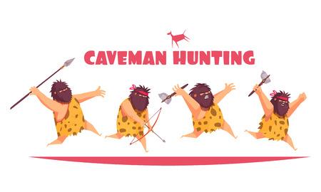 Concetto di design di caccia di cavernicoli con uomini primitivi che tengono vari tipi di illustrazioni vettoriali di cartoni animati di armi antiche Vettoriali
