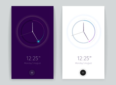 Interface countdown application banners set with time symbols vertical realistic isolated vector illustration