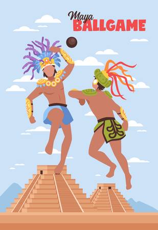 Maya civilization backround vertical composition of two ancient human characters playing ball in front of pyramids vector illustration