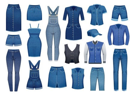 Modern denim clothing for men and women set of icons isolated on white background flat vector illustration