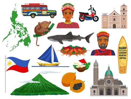 Philippinen-Set von Reise-Icons mit Tier-Wahrzeichen, traditionelles Essen und Trachten isolierte Vektor-Illustration