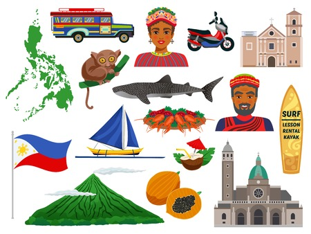 Philippines ensemble d'icônes de voyage avec des animaux repères nourriture traditionnelle et costumes nationaux isolé illustration vectorielle