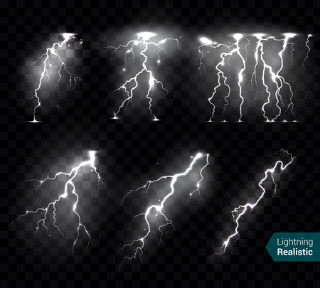Realistic lightning bolts flashes white images collection of isolated monochromatic thunderbolts on transparent background with text vector illustration 일러스트