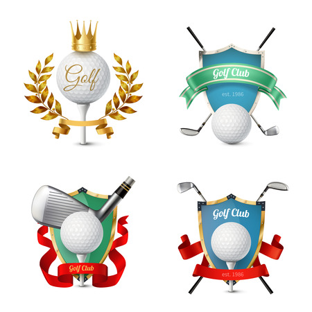 Beautiful colorful emblems of various golf clubs with balls shields ribbons isolated on white background realistic vector illustrationf